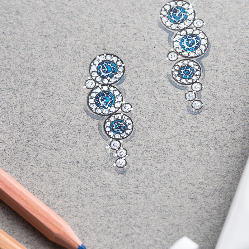 Sketch of drop earrings