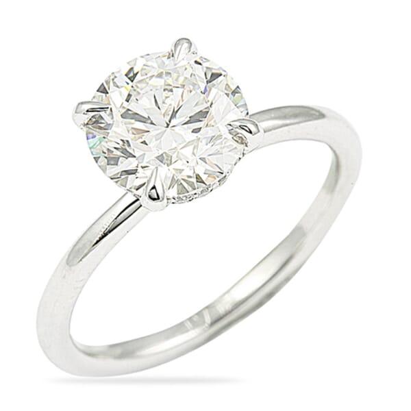2.21 Carat Round Diamond Platinum Solitaire Engagement Ring