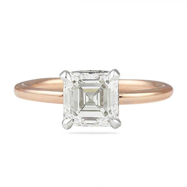 1.70 ct Asscher Cut Diamond Two-Tone Solitaire Engagement Ring