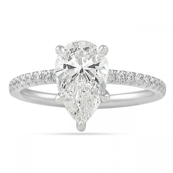 1.74 Carat Pear Shape Diamond Pave Prong Engagement Ring