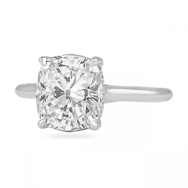 3.50 Carat Cushion Cut Diamond Solitaire Engagement Ring