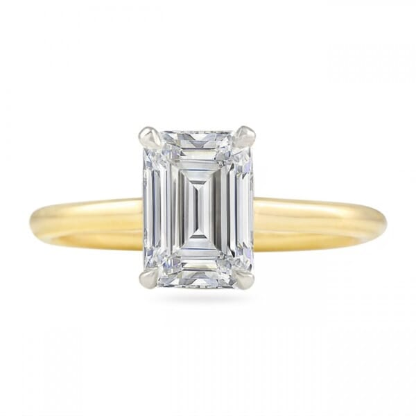 1.70 Ct Emerald Cut Diamond Two-tone Invisible Gallery Ring